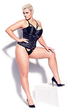 Plus Size Madame X Steel Boned Underbust Corset - black