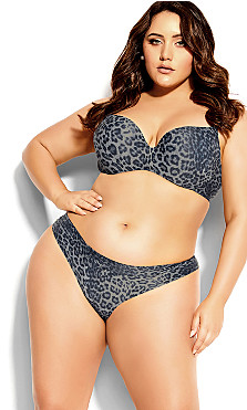 Plus Size Bodycon Cheeky Brief - silver animal