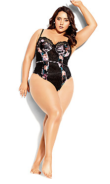 Plus Size Mimi Floral Bodysuit - black