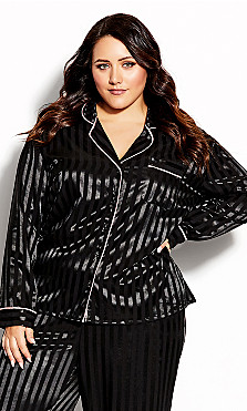 Plus Size Sophia Sleep Shirt - black