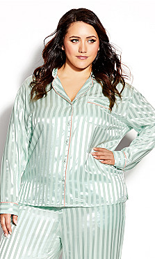 Plus Size Sophia Sleep Shirt - mint stripe