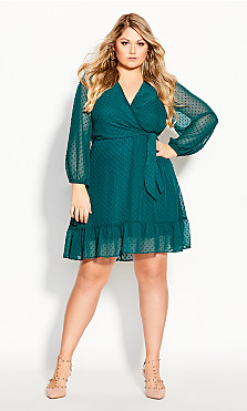 Plus Size Dobby Ruffles Dress - alpine