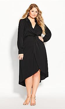 Plus Size Sexy Sleek Dress - black