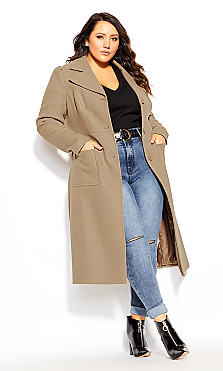 Plus Size Royal Life Coat - taupe