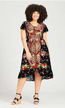 Plus Size Boho Dress - black