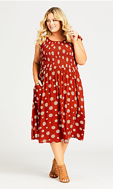 Plus Size Rylie Print Dress - spice