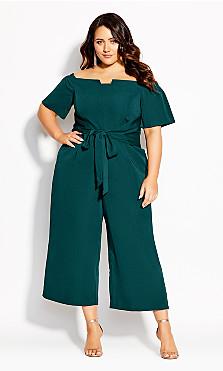Plus Size Lush Shoulder Jumpsuit - emerald