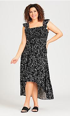 Plus Size Shirred Cap Dress - black