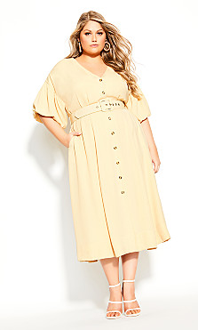 Plus Size Golden Minute Dress - straw