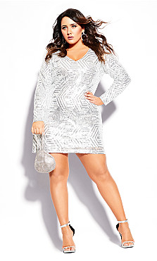 Plus Size Bright Lights Dress - white