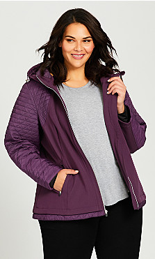 plus size skechers quilted jacket - wine