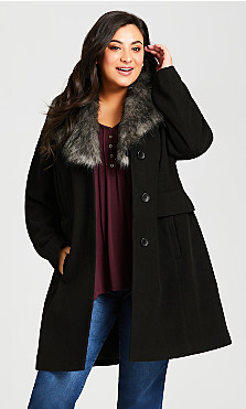 Plus Size Faux Wool Long Coat - black