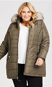 Plus Size Faux Leather Puffer - olive