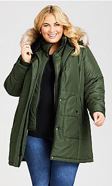 Plus Size Vestie Puffer Coat - juniper