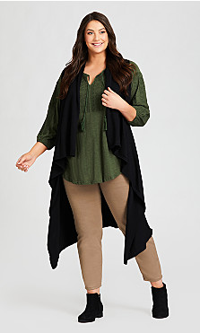 Plus Size Cascading Long Vest - black