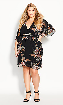 Plus Size Gypsy Floral Wrap Dress - black