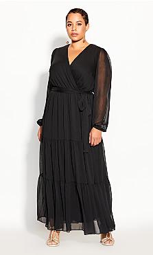 Plus Size Tiered Love Maxi Dress - black