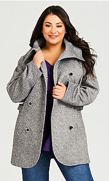 Plus Size Double Breasted Fleece Coat - grey
