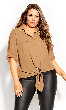 Plus Size Utility Knot Front Top - tan
