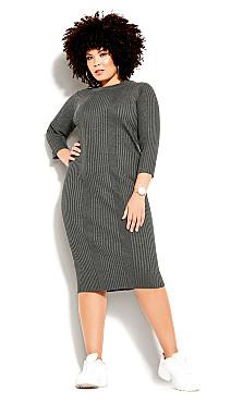 Plus Size Sweater Dress - charcoal