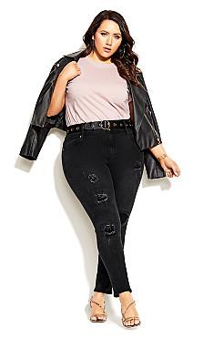 Plus Size Asha Patched Apple Skinny Jean - black