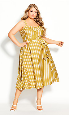 Plus Size Dress Sun Stripe - Sun Stripe