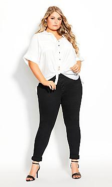 Plus Size Laid Back Shirt - ivory