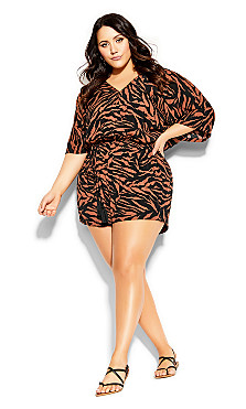 Plus Size Cancun Tiger Playsuit - tiger