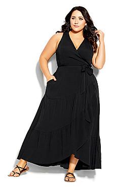 Plus Size Sunset Maxi Dress - black