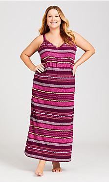 Plus Size Lace Stripe Maxi Dress - plum