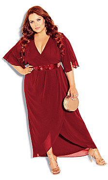 Plus Size Sequin Wrap Maxi Dress - ruby