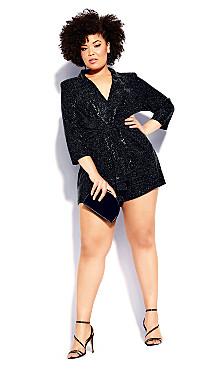 Plus Size Glamour Playsuit - black