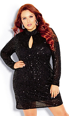 Plus Size Glowing Dress - black