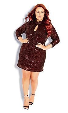 Plus Size Glowing Dress - ruby