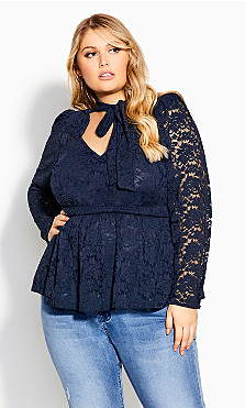 Sexy Lace Top - navy