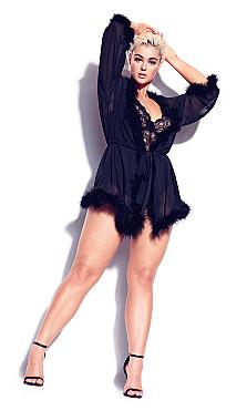 Marabou Trim Short Robe - black