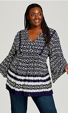 Plus Size Ivanna Top - blue