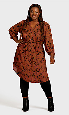 Plus Size Woven Shirt Dress - spice