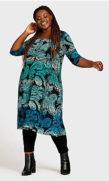 Plus Size Brookline Print Dress - turquoise paisley
