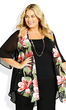 Plus Size Tatum Jacket - black floral