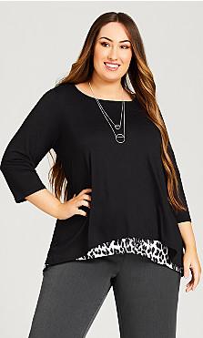 Leopard Print Tunic - black