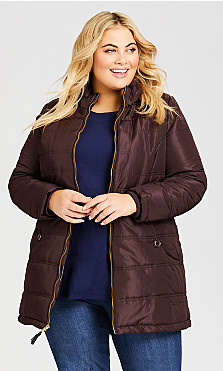Plus Size Faux Leather Trim Puffer Jacket - brown