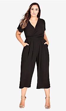 Women's Plus Size Wrap Front Crop Jumpsuit - Black