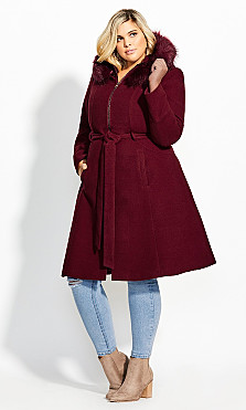 Women's Plus Size Miss Mysterious Coat - cherry
