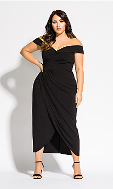 Women's Plus Size Rippled Love Dress - black