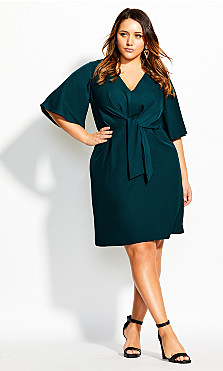 Women's Plus Size Knot Front Dress - teal