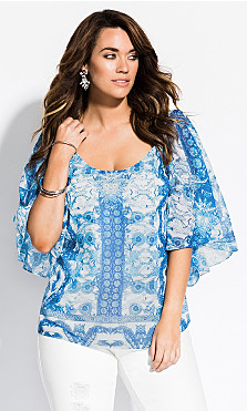 Women's Plus Size Mykonos Top - ocean