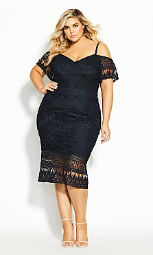 Plus Size Impressions Dress - navy
