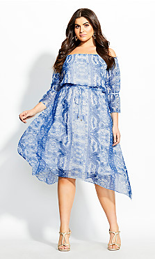 Mykonos Off Shoulder Dress - ocean