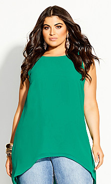 Plus Size Sevil Hi Lo Top - green